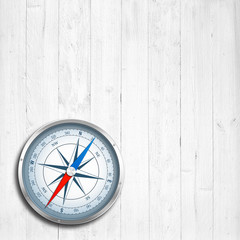 Kompass auf Holz