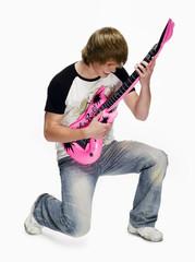 Teenager, Kind, Junge mit E-Gitarre