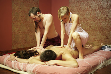 Couple massage in progress