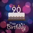 Happy 90th Birthday - Bokeh Vector Background with cake