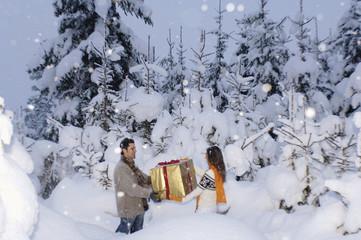 Junges Paar mit Geschenk im Schnee