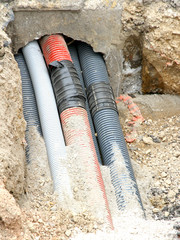 corrugated pipes for laying telephone wires and electric cables