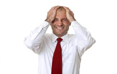 Mann umarmen, die Hände auf den Kopf, Portrait