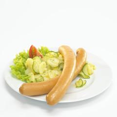 Wiener mit Kartoffelsalat, close-up,
