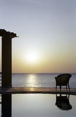Abend Resort mit Blick auf das Meer