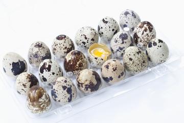 Gepunktete Wachteleier im Eierkarton mit einem gebrochenen Ei