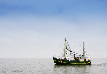 Fisherboot am Wattenmeer, Ostfriesland, Deutschland