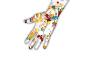 Hand mit Pillen, Medizin