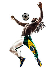 Brazilian  black man soccer player juggling football silhouette