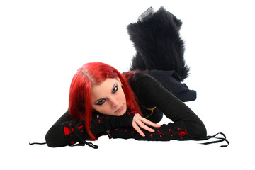 Bored red hair girl on the floor.