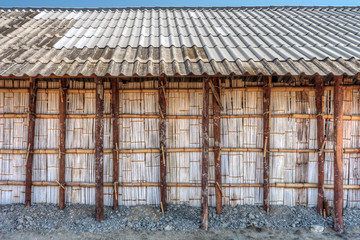 The wooden storehouse for salts storage in salt evaporation pond
