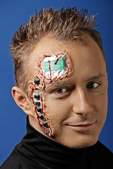 Future human robot with electronic chips and circuit on the head