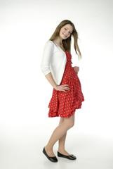 Brunette Mädchen Teenager in roten Kleid, Portrait