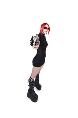 Young Dyed Hair Female Holding Gun