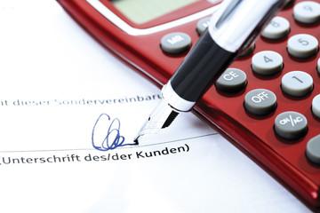 Unterzeichnung einer besonderen Vereinbarung