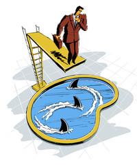 Geschäftsmann auf Sprungbrett über Haifischbecken