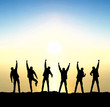 Silhouette of a team. Active life concept