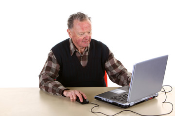 Senior with computer