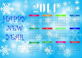 Calendar snow 2014. Vector.