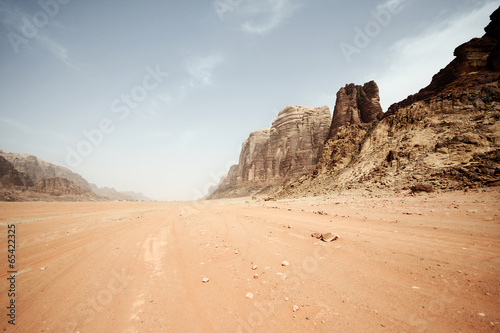 Foto op Canvas Zandwoestijn Desert landscape - Wadi Rum, Jordan