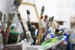 Pinsel Atelier Künstler Nahaufnahme