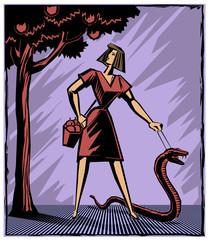 Eva der Schlange an der Leine