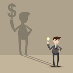 cartoon businessman holding idea bulb