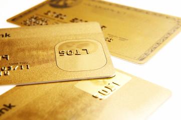 Drei verschiedene Kreditkarten, close-up