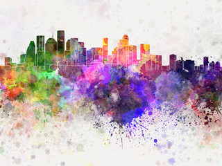 Houston skyline in watercolor background
