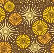 Folk Simple brown Seamless pattern retro flowers