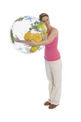 Frau halten Globus
