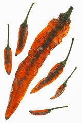 Getrocknete Chilis, close-up