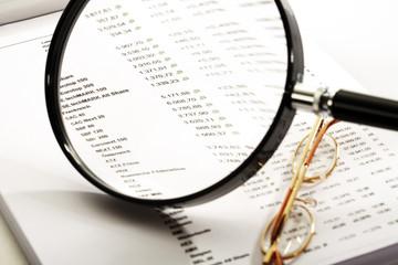 Lupe und Börsenkurse