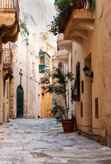 beautiful street in the heart of Vittoriosa, Malta