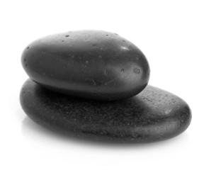 Growing piled up pebbles on a white background