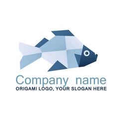 Fish logo, origami logo