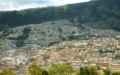 Views of colorful buildings in Quito