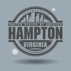 Stamp or label with text Hampton, Virginia inside