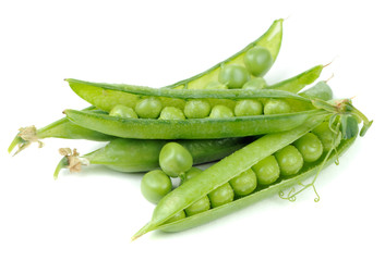 Green Peas in Pods Isolated on White Background