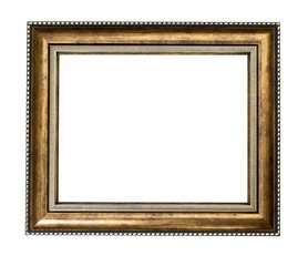 Golden wood frame on white background