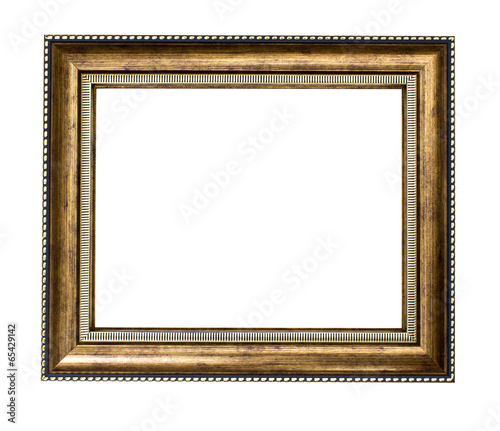 Golden wood frame on white background - 65429142