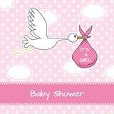 Fototapety Baby girl arrival announcement card