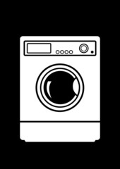 Washing machine on black background