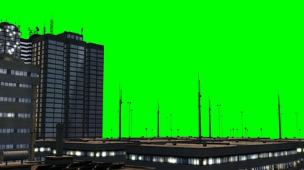 Skyscraper - tracking shot - green screen