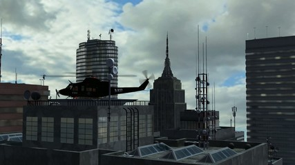 helicopter on skyscraper - tracking shot -  Background