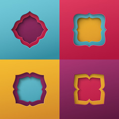Vintage frames on colorful background