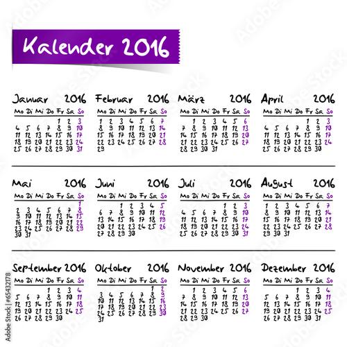Kalender 2 halvår 2016