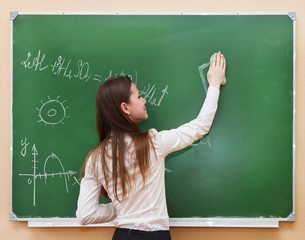 Student girl standing near blackboard