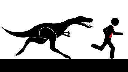 Man run from dinosaur