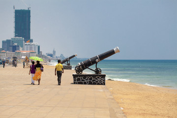 Cannon monument on the main waterfront in Colombo Sri Lanka